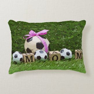Soccer Mother's Day with ball and word MOM  Throw  Accent Pillow