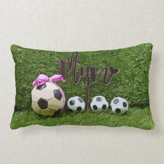 Soccer Mother's Day with ball and word MOM  Throw  Lumbar Pillow