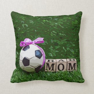 Soccer Mother's Day with ball and word MOM  Throw Pillow