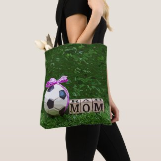 Soccer Mother's Day with ball and word MOM Tote Bag