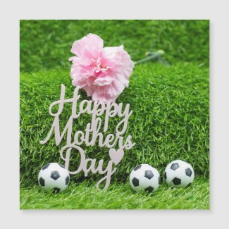 Soccer Mother's Day with pink carnation mom Card