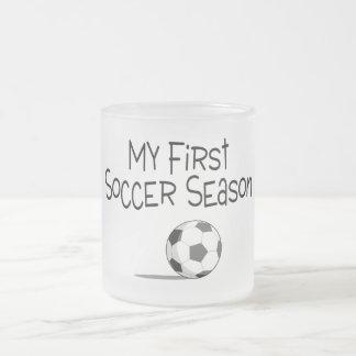 Soccer My First Soccer Season (Soccer Ball) Frosted Glass Coffee Mug
