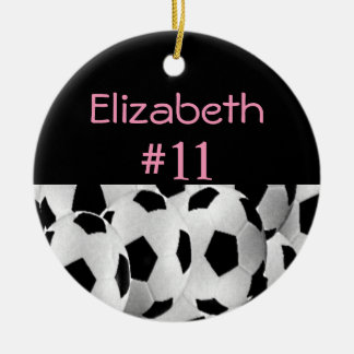 Soccer Name Number Pink Ceramic Ornament