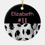 Soccer Name Number Pink Double-Sided Ceramic Round Christmas Ornament
