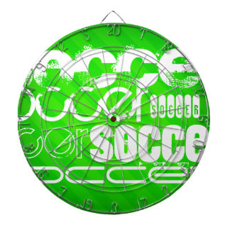 Soccer; Neon Green Stripes Dartboard With Darts
