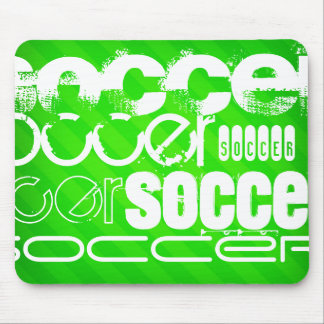 Soccer; Neon Green Stripes Mouse Pad