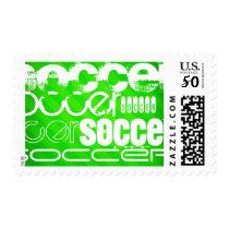 Soccer; Neon Green Stripes Postage