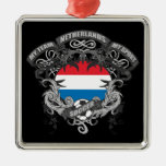 Soccer Netherlands Square Metal Christmas Ornament