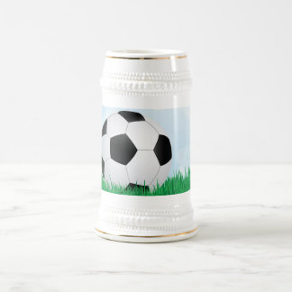soccer on grass beer stein