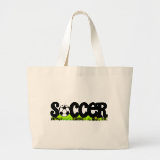 Soccer (On Grass) Large Tote Bag
