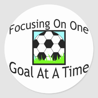 Soccer One Goal At A Time Classic Round Sticker