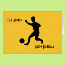 Soccer or football Birthday add name front. Card