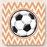 Soccer; Orange and White Chevron Coasters
