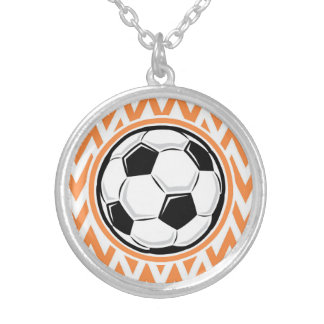 Soccer; Orange and White Chevron Necklaces