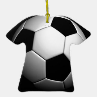 Soccer Double-Sided T-Shirt Ceramic Christmas Ornament