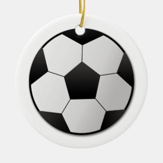 Soccer Double-Sided Ceramic Round Christmas Ornament