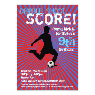 Soccer Party Invitation - Boy, Red and Blue