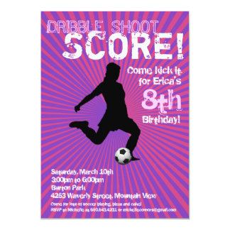 Soccer Party Invitation - Girl, Pink and Purple