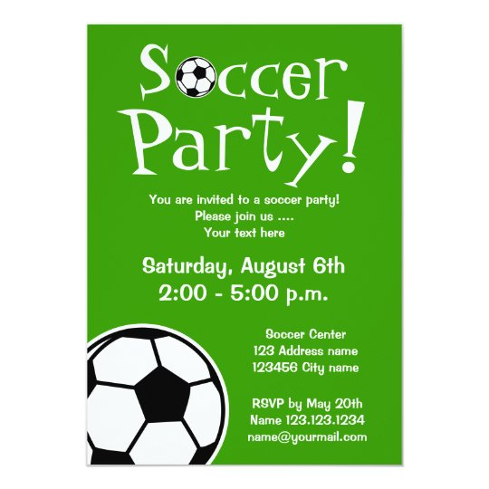 Soccer party invitations for Birthdays or BBQ Zazzlecom
