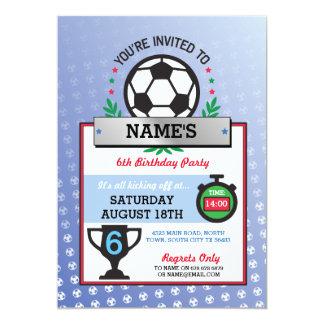 Soccer Party Sports Birthday Blue Invitations