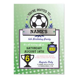 Soccer Party Sports Birthday Green Invitations