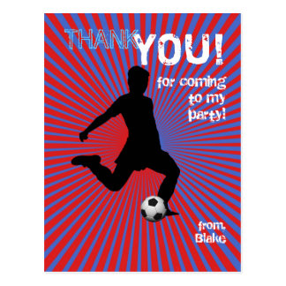 Soccer Party Thank You Postcard - Boy Red