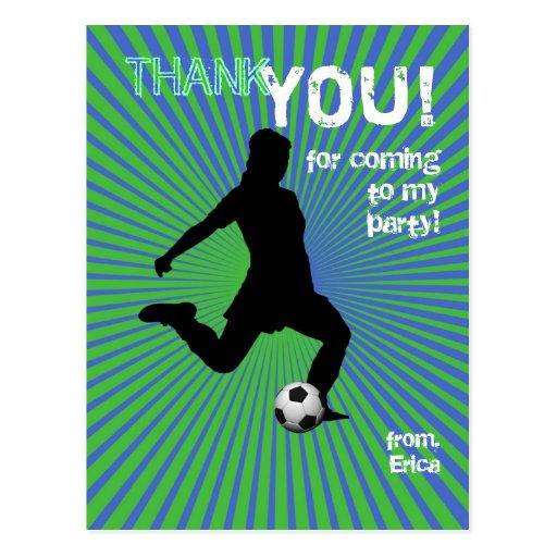 Soccer Party Thank You Postcard - Girl Green