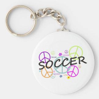 Soccer Peace Basic Round Button Keychain