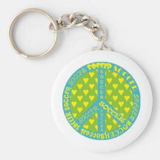 Soccer Peace Sign Frame Basic Round Button Keychain