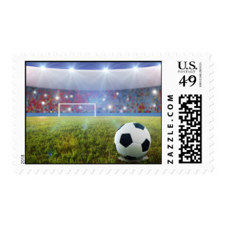 Soccer penalty kick postage stamp