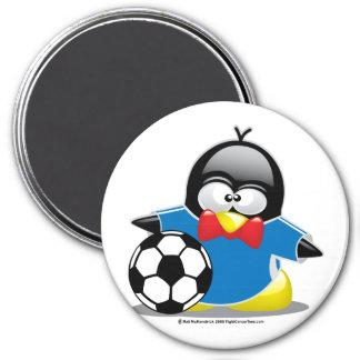 Soccer Penguin 3 Inch Round Magnet