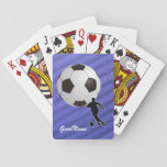 "Soccer, personalize with name playing cards<br><div class=""desc"">For the Soccer enthusiast. Your name (or a friend&#39;s) on this card showing a soccer ball and silhouette of a player. Change the type font,  size,  color and position if desired. Makes a great gift to yourself or someone else.</div>"
