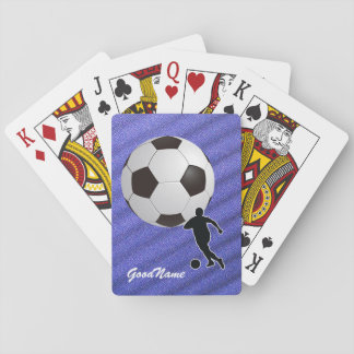 Soccer, personalize with name playing cards
