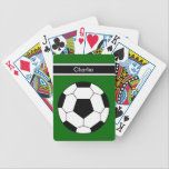"""Soccer Personalized Playing Cards<br><div class=""""desc"""">Soccer personalized playing cards with cool image of a soccer ball let&#39;s you play cards with a sports theme. Personalize your own deck of cards for your friends or family and personalize them with your name or initials to give these Bicycle playing cards a personal monogrammed touch. Perfect gift for...</div>"""