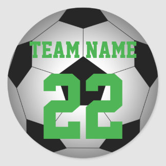 Soccer personalized team name number classic round sticker