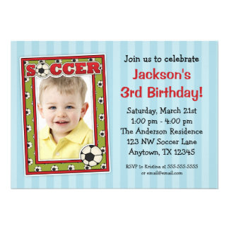 Soccer Photo Birthday Party Blue Invitations