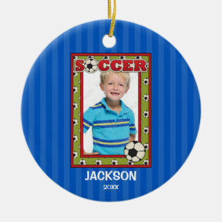 Soccer Photo Frame Kids Personalized Christmas Ceramic Ornament