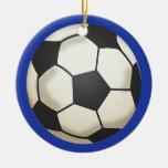Soccer Photo Keepsake Blue Double-Sided Ceramic Round Christmas Ornament