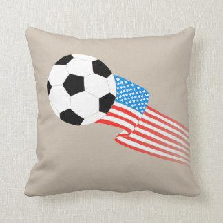 Soccer Pillow: Beige USA Throw Pillow