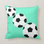 Soccer Pillow: Turquoise Soccer