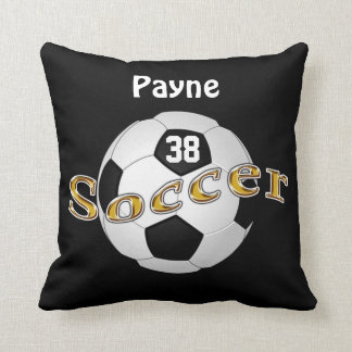 Soccer Pillow with Your NAME, NUMBER, Team COLORS