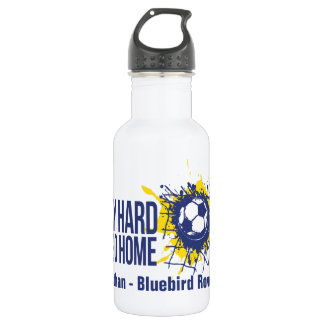 Soccer play hard team and named drinks bottle