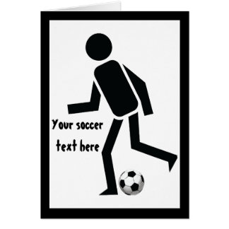 Soccer player and ball custom gift greeting card