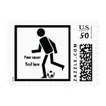 Soccer player and ball custom gift postage