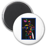 Soccer Player Art3 2 Inch Round Magnet