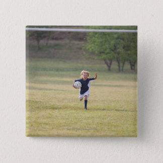 Soccer player cheering and yelling pinback button