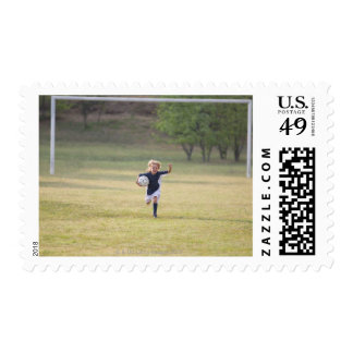 Soccer player cheering and yelling postage