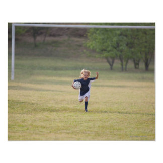 Soccer player cheering and yelling poster