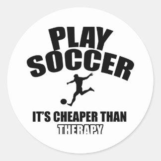 Soccer player designs classic round sticker