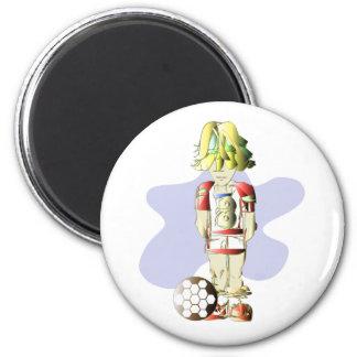 Soccer Player Digital Art 2 Inch Round Magnet